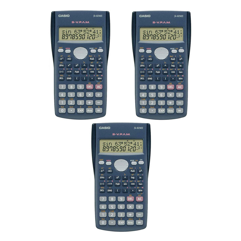 Casio Fx-82MS 2-Line School/College/Office/Home Scientific Calculator - Triple Pack 1