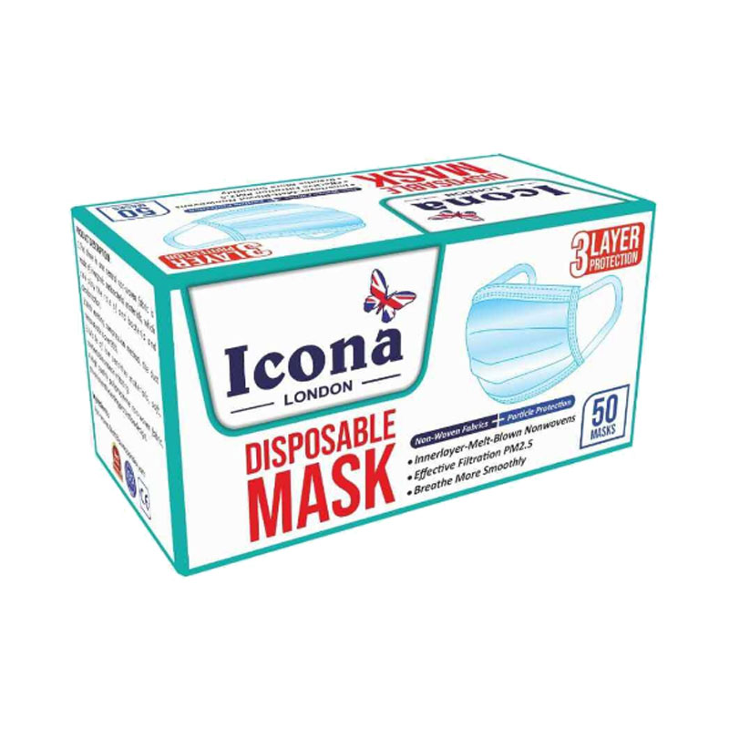 ICONA London - Disposable 3 Ply - Broad Elastic Comfortable Strap Ribbon Band(not string)- Pack of 50 1