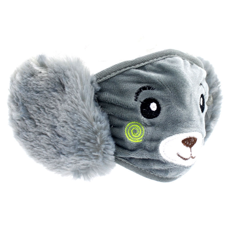 Kids/Kiddies 2 in 1 Reusable Teddy Bear Face Mask With Warm Plush Earmuffs - Grey 1