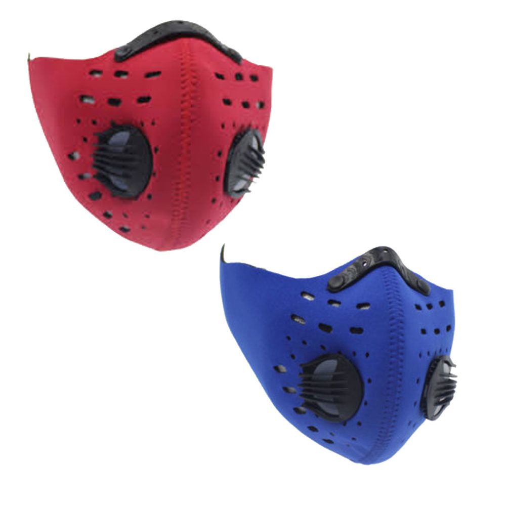 Neoprene Dual Valve Respirator Mask - Washable and Reusable - Skin Friendly - 2 Pack Blue & Red 1