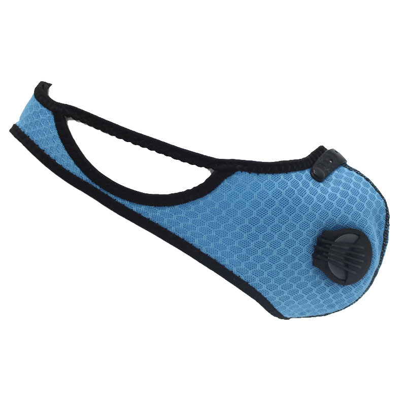 Respirator Double Valve Reusable Washable Sports Face Mask - 100% Polyester - Blue 5