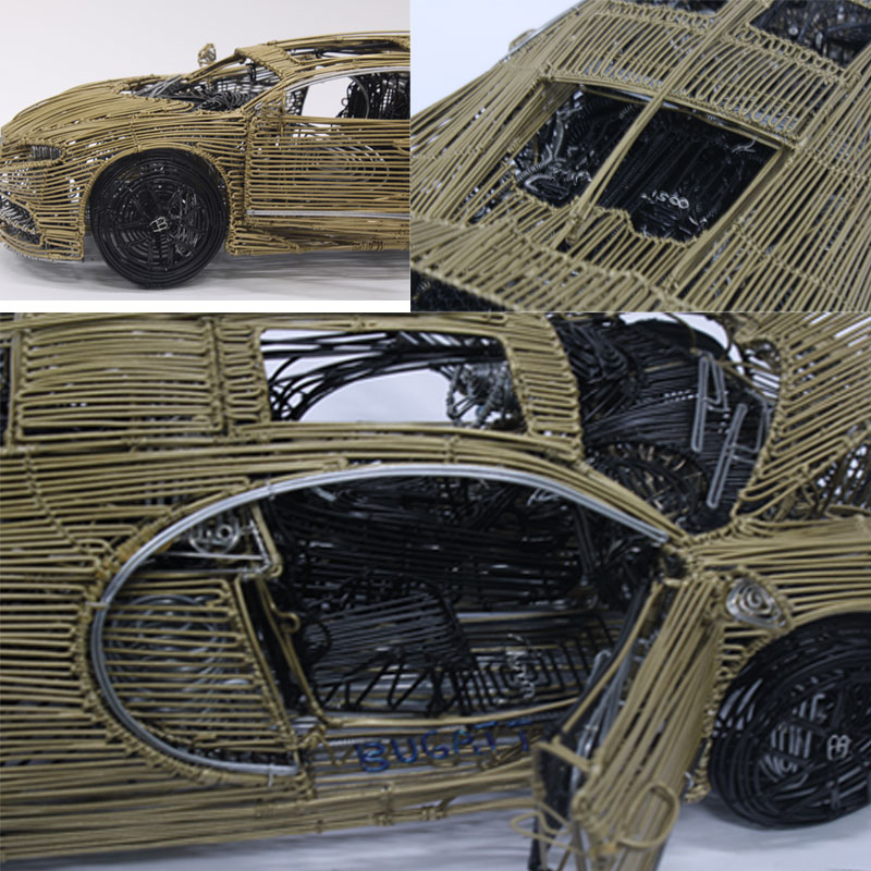 Handmade One of a Kind Bugatti Wire Scale Model by Conty Fonane - All Proceeds to go to Artist 11