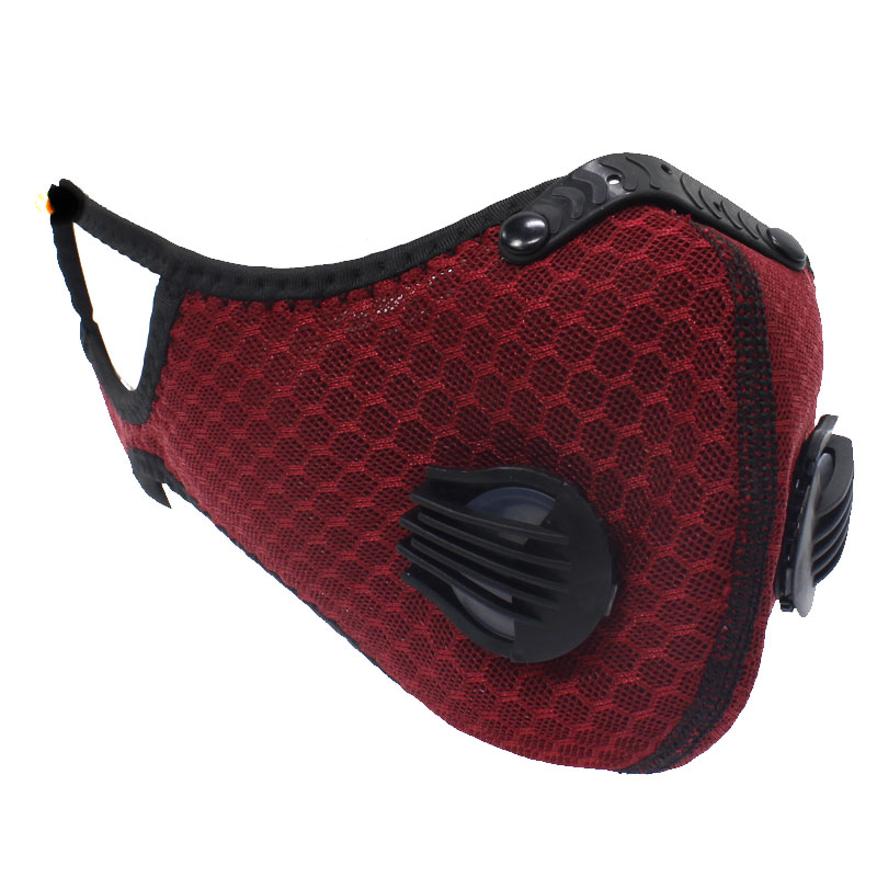 Respirator Double Valve Reusable Washable Sports Face Mask - 100% Polyester - Maroon 1