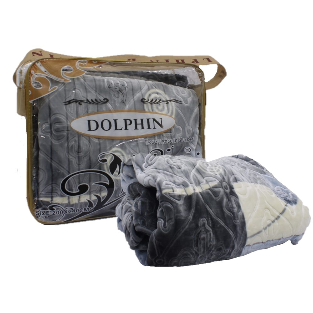 Dolphin Luxury Embossed Blanket - Queen Size Grey And White 1