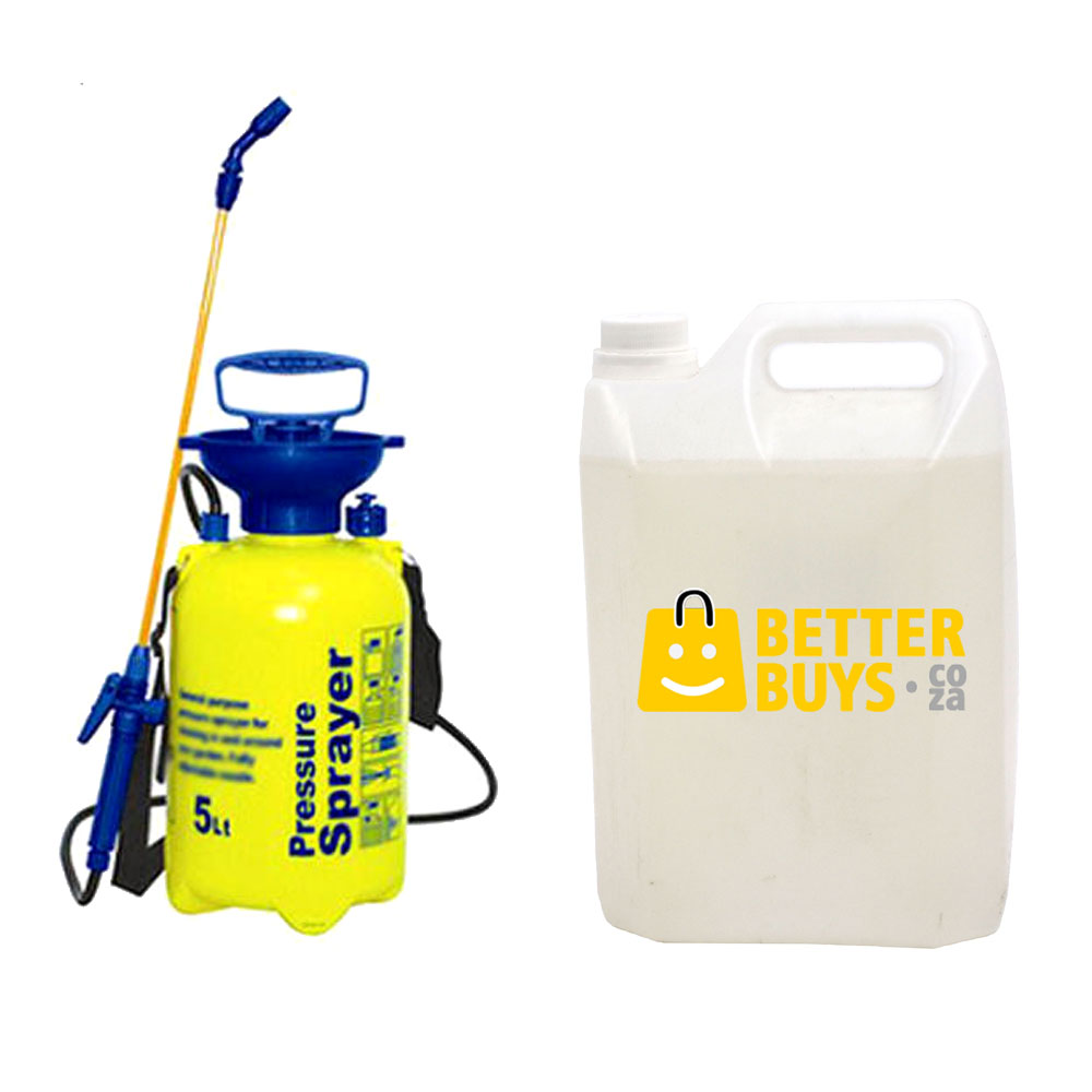Handheld Pressure Sprayer - 5 litre with adjustable nozzle & Trigger Lock With 5 Lt Disinfectant 1