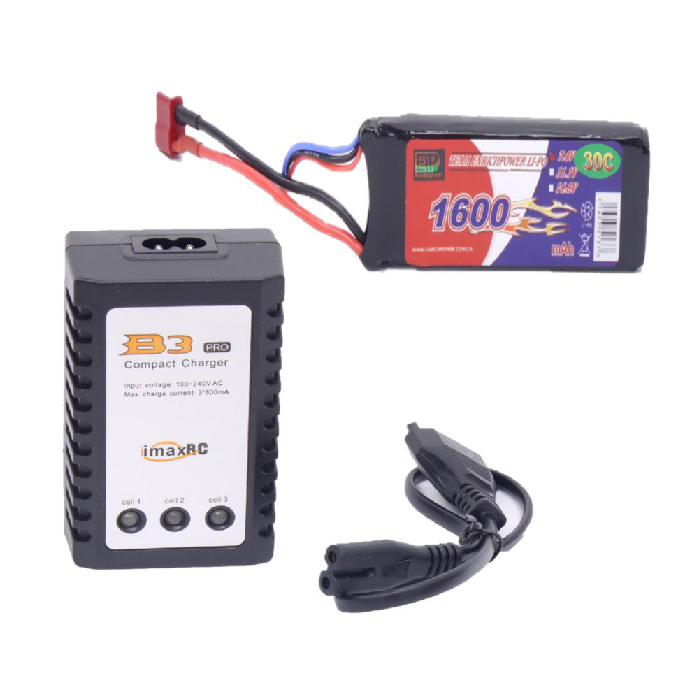7.4V 1600mAh 30c Lipo Battery & Compact Charger for RC Cars 1