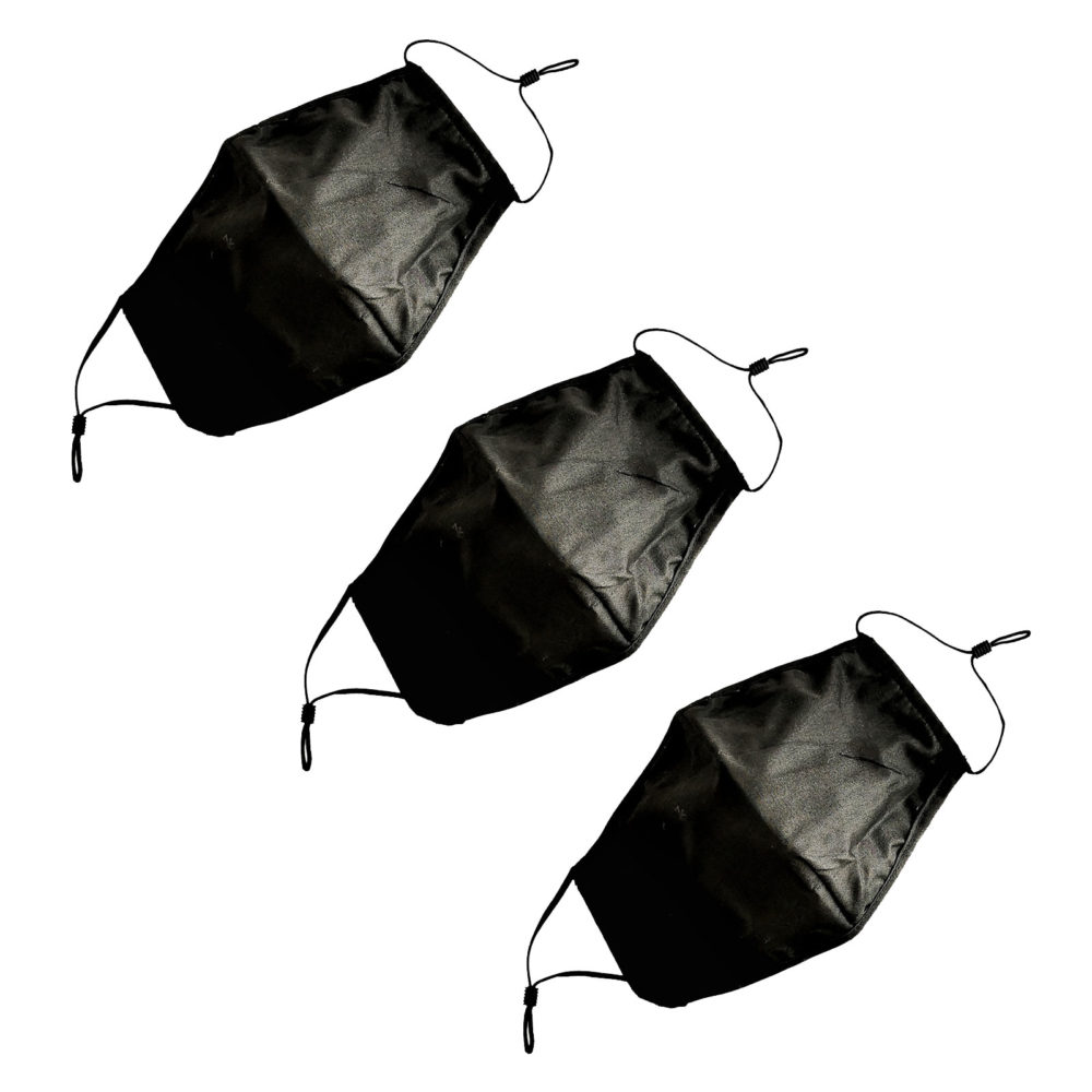 Dust Mask - Breathable with Adjustable Ear Loops - Black - 3 Pack 1