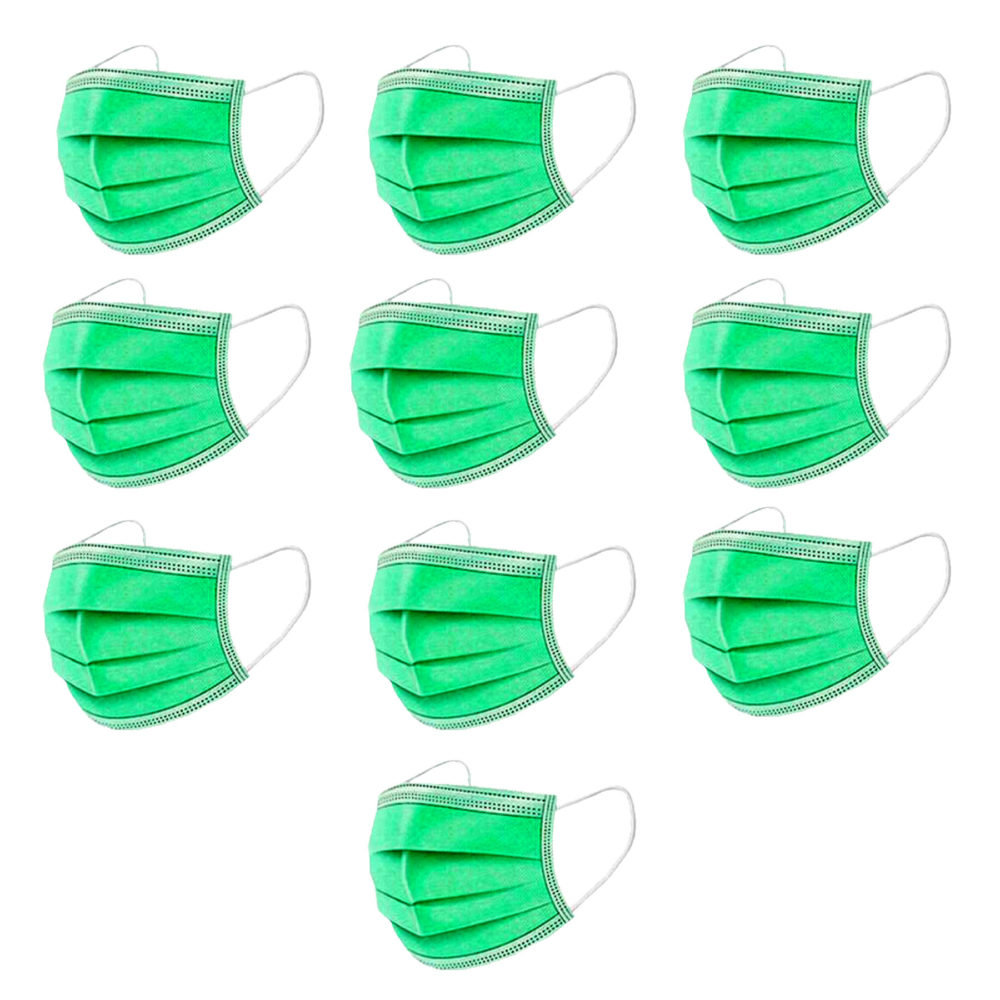 Kiddies Masks Disposable 3Ply Comfy & Protective for School Kids - Green - 100 Pack 1