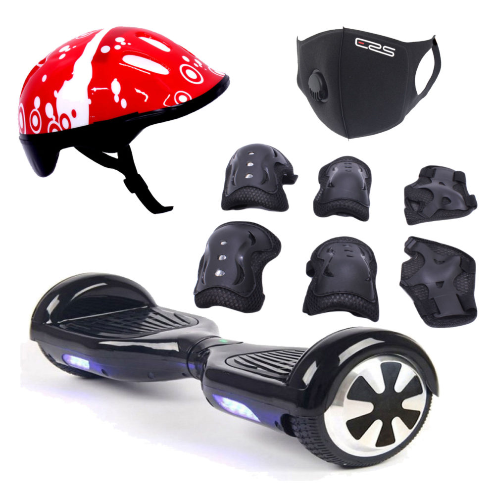 """Self Balance Scooter 6.5"""" Hoverboard Safety Extreme Combo - LED - Bluetooth - ERS Mask - Helmet & Protective Gear Set -Black 1"""