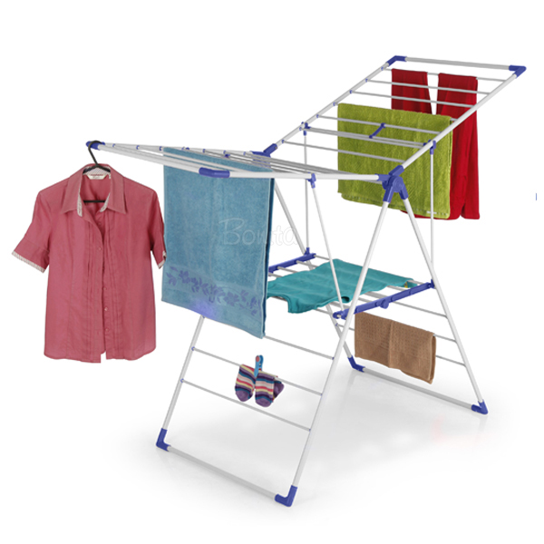Laundry Drying Rack - Clothes Stand/Hanger with Multiple Hanging - Blue & 5 x Microfibre Cloths 2