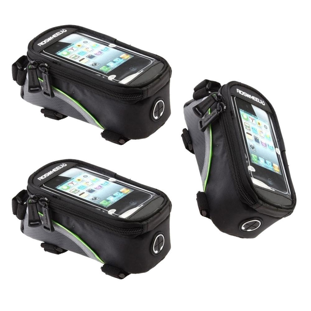 Phone Bicycle Holder & Storage Bag With Headset Jack - 3 Pack 1