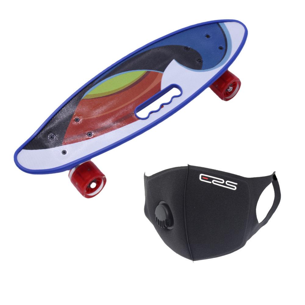 Skateboard 58cm with Flashing Wheels Ride On Skateboards & ERS Mask - Wave 1