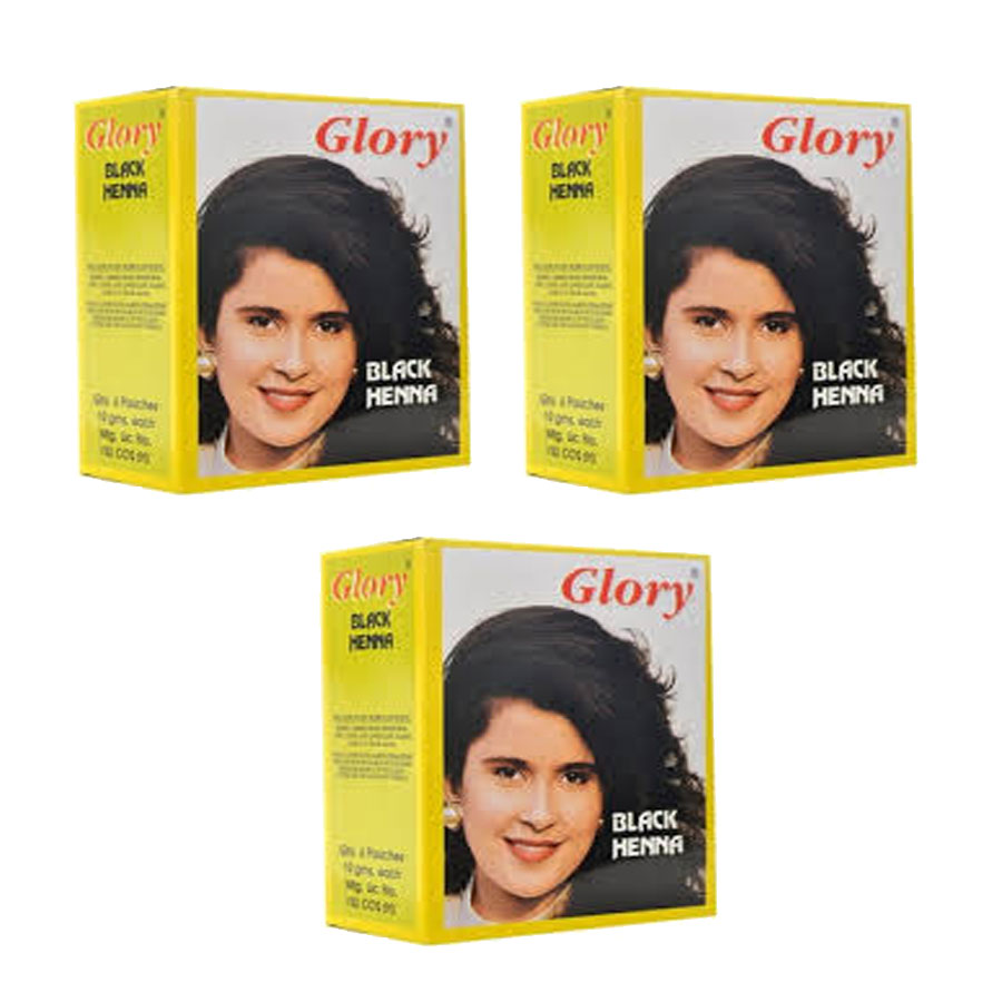 Glory Henna Natural Hair dye - Ammonia Free - Black - 3 Pack 1