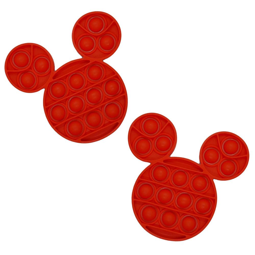Fidget Toys - Pop It Washable Reusable Fidget Toy - Mouse - Red 2 Pack 1